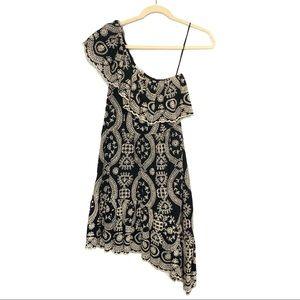 LOVESHACKFANCY Pamela Floral Ruffle Black Dress